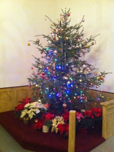 Christmas tree at West Dover Congregational Church