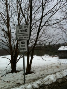 Road sign in Dover, Vermont.