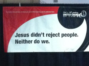 UCC banner at General Synod in Tampa.