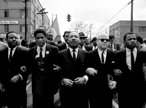 Dr. King and John Lewis, marching with other Civil Rights leaders.
