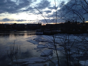 Ice thawing on Easter morning on the Squamscott River.